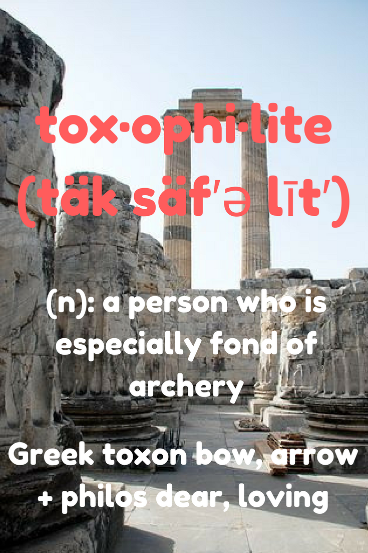 Toxophilite Definition:  A person who is especially fond of archery.