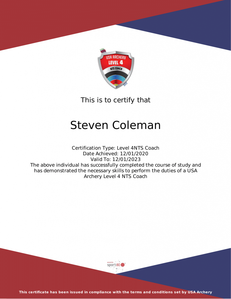 Steven USAA Level 4 NTS Coach Certificate